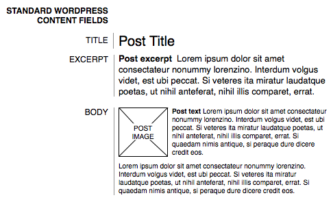 Standard WordPress content fields include the title, excerpt, and body.