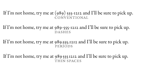 Four approaches to styling phone numbers.