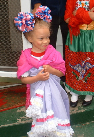 Lila dressed up for a parade. Isn't she adorable?
