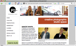 Screenshot of the Perspective2 Studio web page.