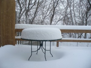 The table on my back deck after the morning's snow.