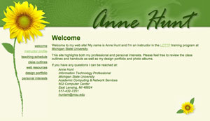 Anne Hunt's sunflower web page design