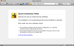 Unsigned cert warning at dss.mil website
