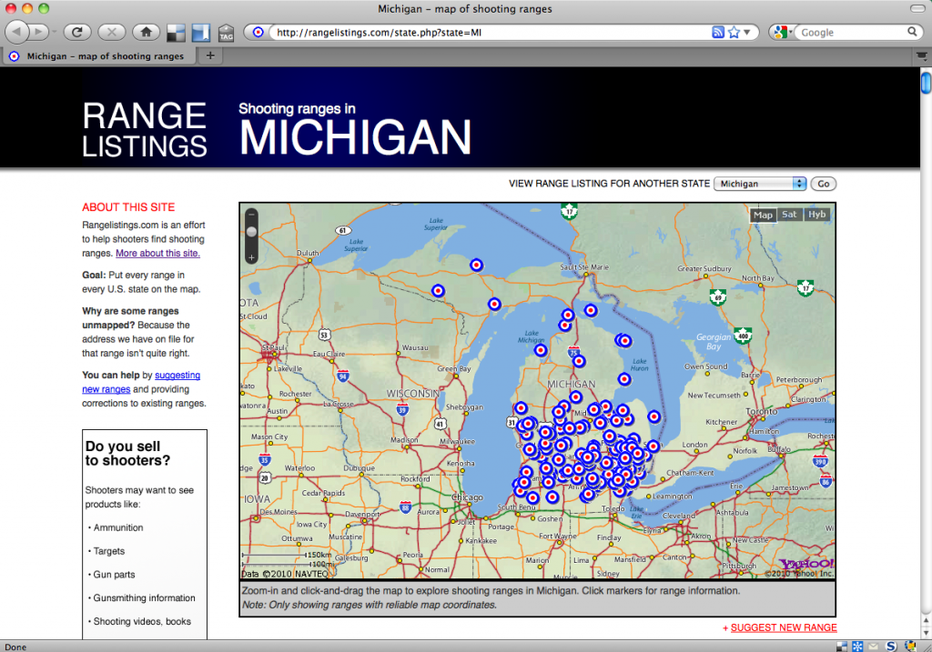 Screenshot of the RangeListings.com page for Michigan.