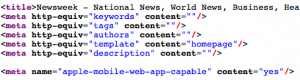 Newsweek.com meta tags, bad markup
