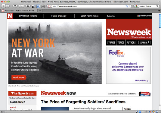 Home page of Newsweek.com, May 31, 2010