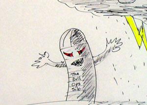 sketch an evil silo