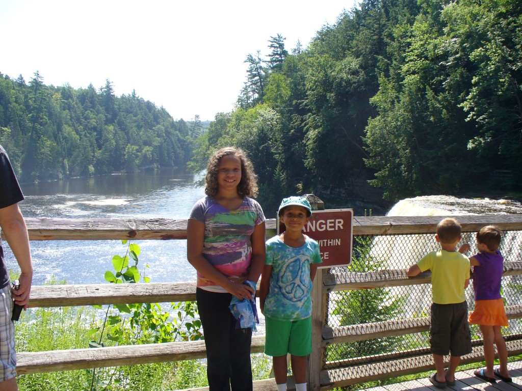 Lila and Eva at upper Taqhuamenon Falls