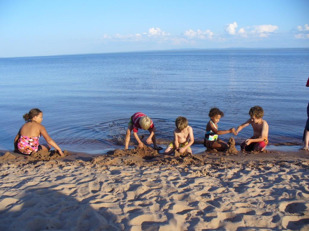 The kids on the beach.