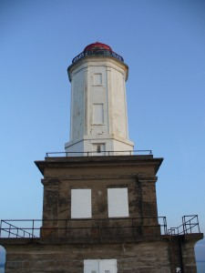 A closer view of the lighthouse.