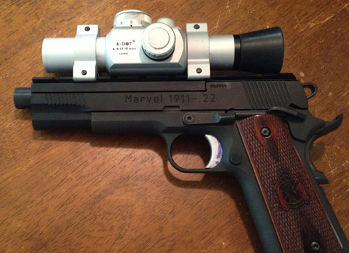 .22 target pistol: Marvel Precision Unit 1, Springfield Armory Range Officer 1911 frame, and an UltraDot red dot scope.