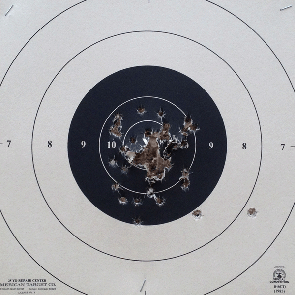 Target showing 50 shots from a Ruger LCP.