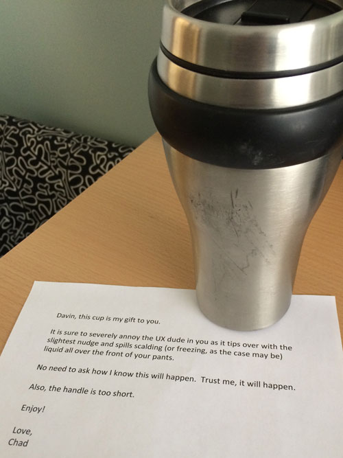Poorly designed travel mug from a colleague